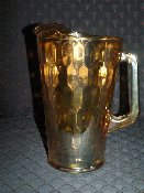 Jeannette Glass 1930's Hex Optic Iridescent Glass Pitcher