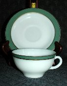 Pyrex Teal & Gold Banded Cup & Saucer Sets