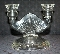 Jeannette Glass Sunburst Depression Glass Double Candle Holder