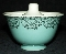Taylor Smith & Taylor Gold Filigree & Turquoise Sugar Bowl