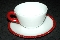 Westmoreland Red Beaded Edge Milk Glass Cup & Saucer Sets