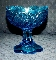 Kemple Wheaton Blue Toltec Footed Pedestal Candy Bowl