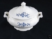 Homer Laughlin Imperial Blue Dresden Sugar Bowl