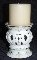 Avon Ivory Porcelain Lattice & Pearl Pillar Candle Holders