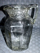 Rayed Flower & Lattice Pressed Glass Water Pitcher