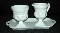 Indiana Glass Kings Crown Milk Glass Creamer Sugar Bowl & Tray