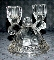 Imperial Glass Two Crocheted Crystal Double Light Candlesticks
