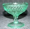 US Glass Green Depression Floral & Diamond Champagne Glasses