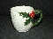 Lefton Carved White Holly & Berries Mugs