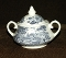 English Ironstone Kingswood Blue Covered Sugar Bowl