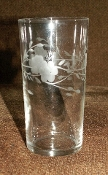 Federal Glass Gray Cut Crystal Floral Tumbler Set