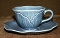 Metlox Poppytrail Lotus Medium Blue Cup Saucer Sets