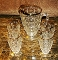 Jeannette Glass Gold Flashed Thumbprint 5 Pc Juice Beverage Set