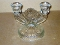 Jeannette Glass Iris & Herringbone Double Candle Holder
