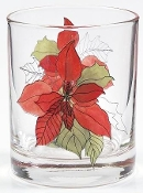 Block Spal Watercolors Poinsettia Double Old Fashion Glasses