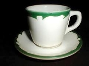 Buffalo China Green Crest Cup Saucer Sets