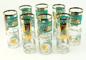 Libbey Southern Comfort Turquoise Gold Riverboat Coolers