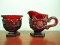 Avon Cape Cod Ruby Red Sugar Bowl & Creamer Sets