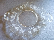 Heisey Orchid Etch Handled Sandwich Plate Serving Platter
