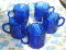 Arcoroc Cobalt Blue Swirl Glass Mugs