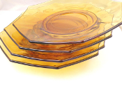 Vintage Amber Glass Octagonal Luncheon Plates