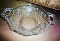 1940's New Martinsville Glass Prelude Etch Handled Bowl