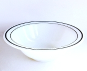 Corning Pyrex Decor White Green Stripe Soup Cereal Bowls