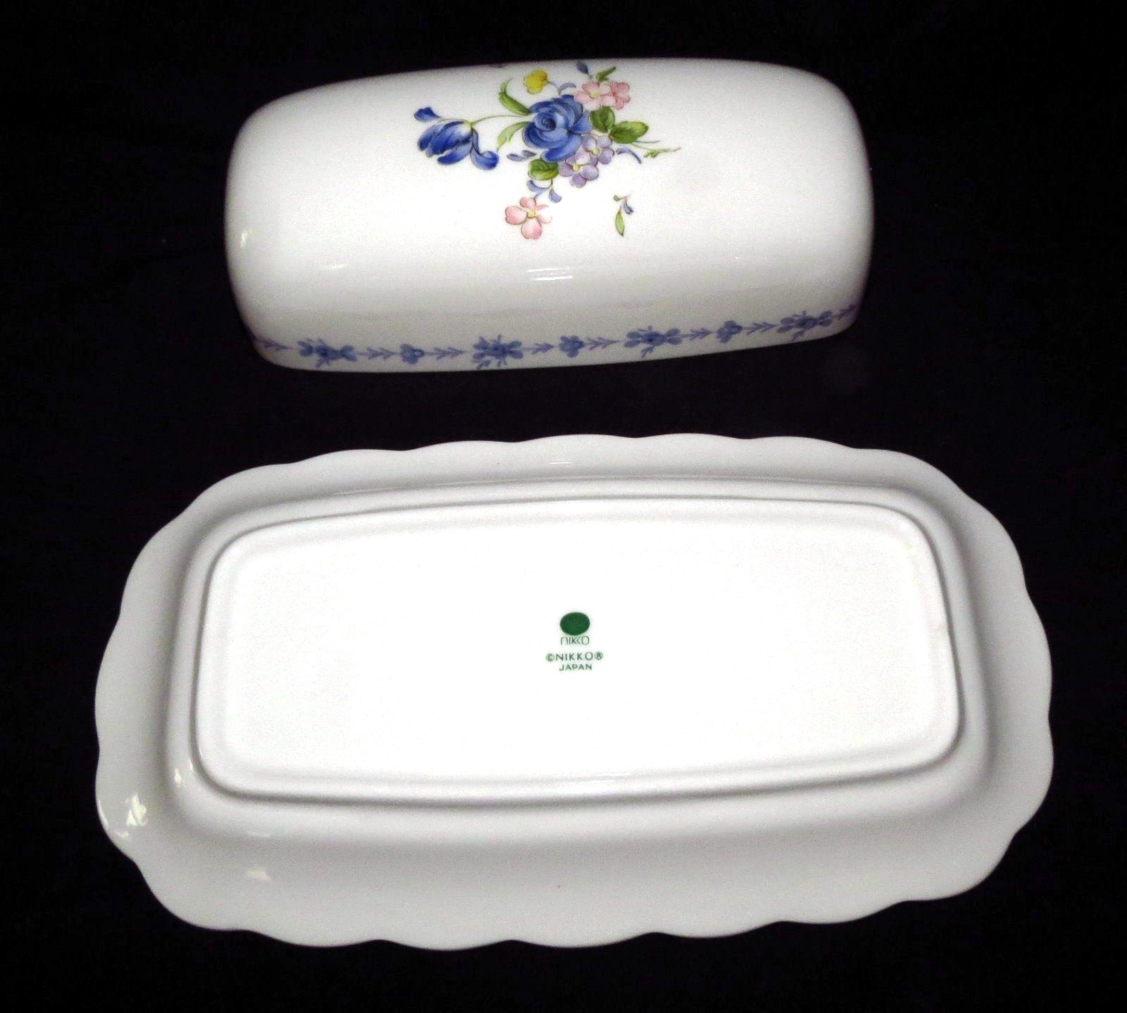 & Nikko Blue Peony Covered Butter Dish